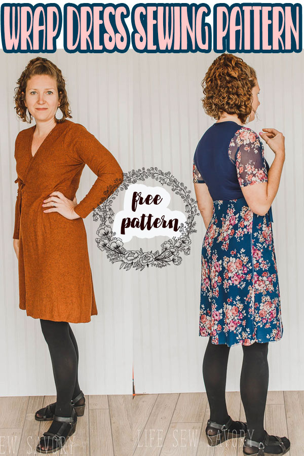 A wrap dress sewing pattern in sizes xs - xxl. Enjoy this free sewing pattern for women. Instant pdf downloadable pattern. free dress sewing pattern with two sleeve options via @lifesewsavory