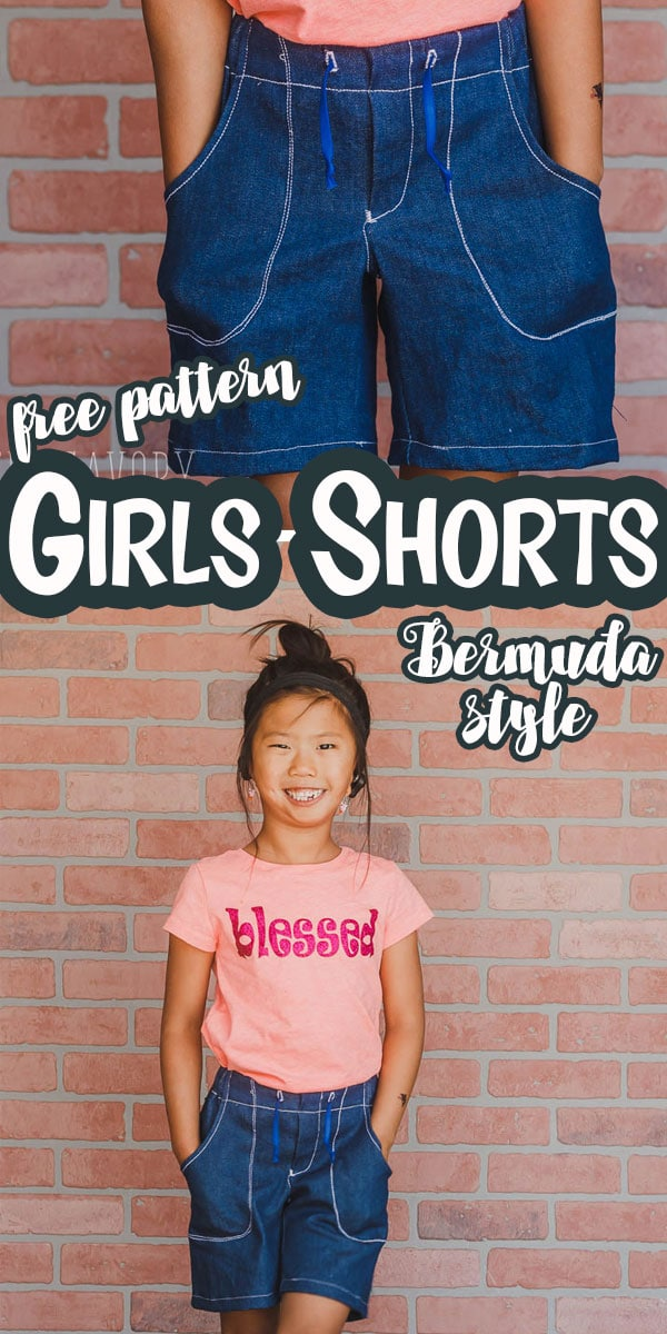 A free shorts pattern to make girls Bermuda style shorts. Learn how to sew shorts and make a cute pair of girls Bermuda shorts with this printable pattern and tutorial via @lifesewsavory
