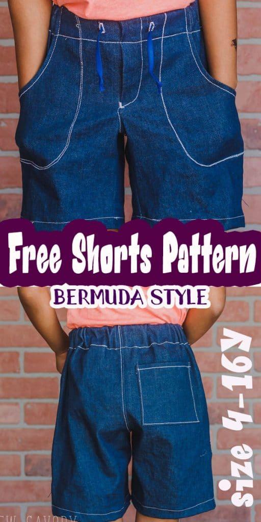 free shorts pattern bermuda style