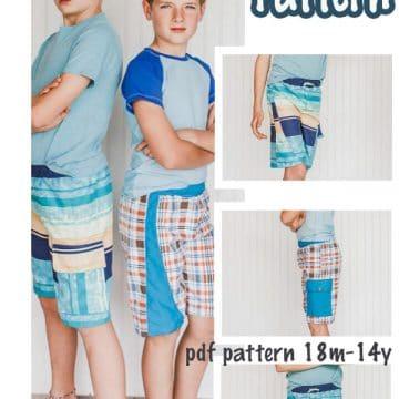 boys board shorts sewing pattern downloadable pdf
