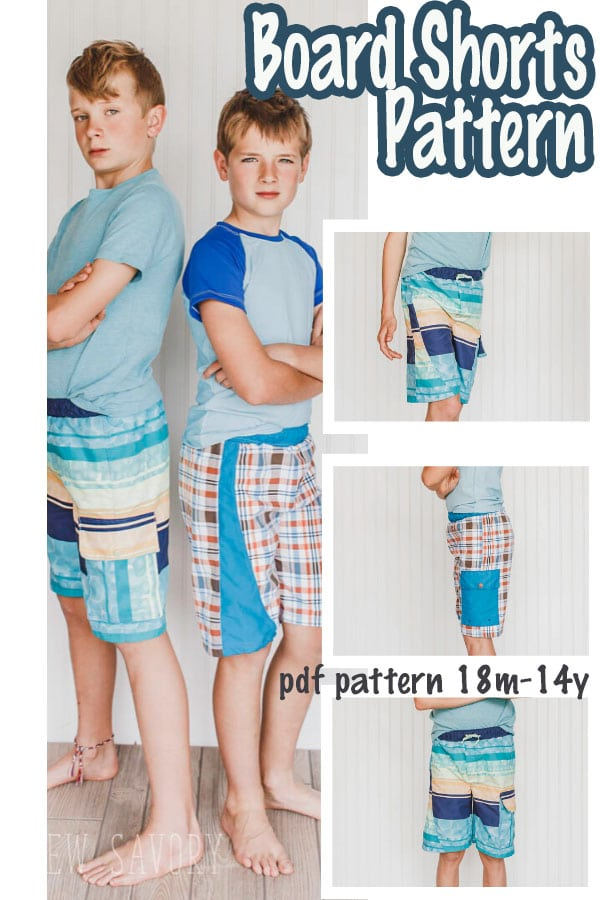 Updated board shorts sewing pattern. All new pattern with the same design features. side pocket, side stripe, drawstring and suit lining. Download and sew this great summer swim pattern in sizes 18m-14Y.