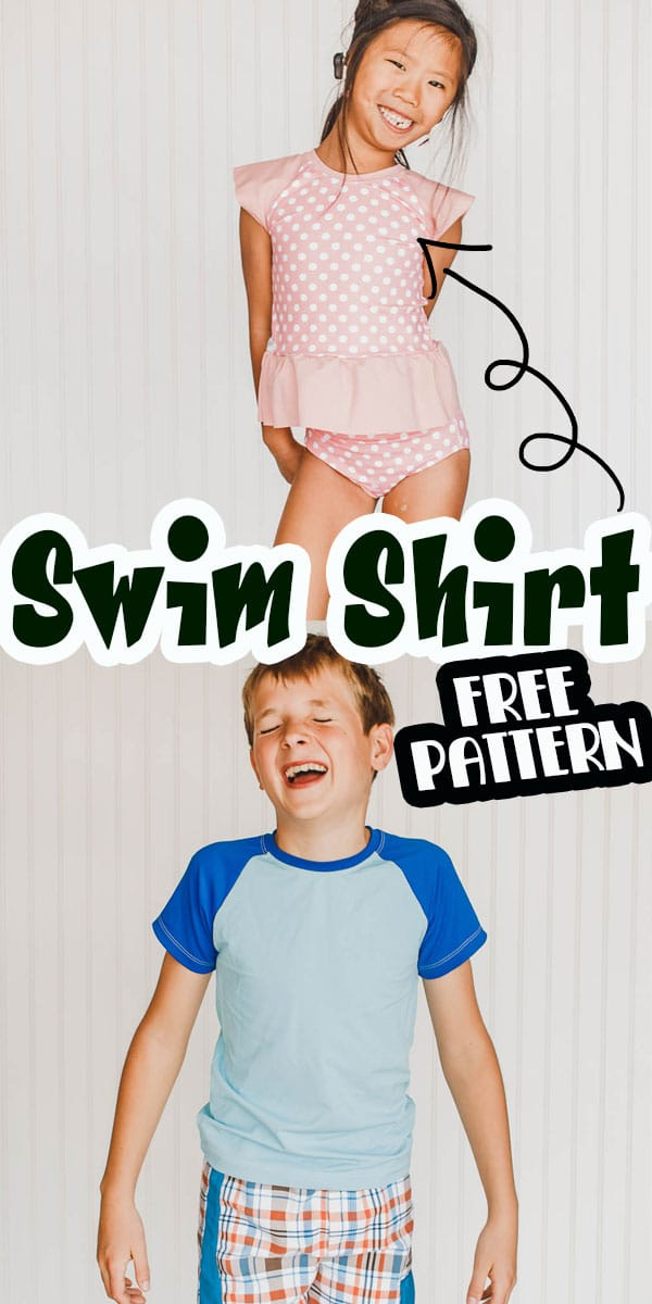 learn how to sew a rash guard for summer swim with this free pattern and sewing tutorial. Use a free raglan pattern and a few sewing edits to make adorable swim shirts for summer water play. via @lifesewsavory