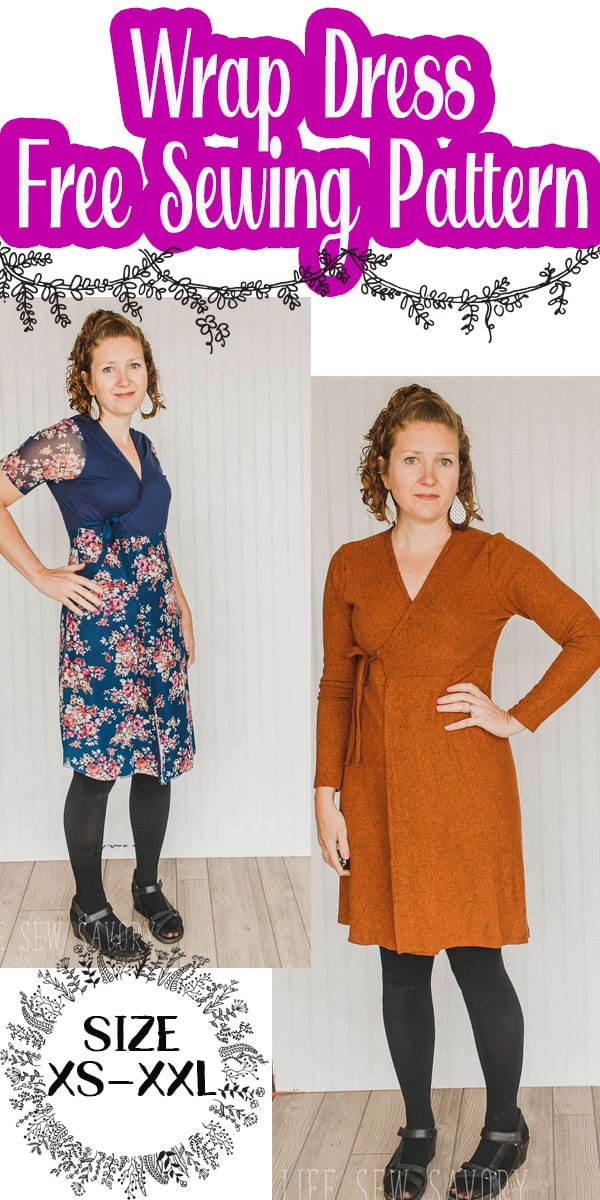 A wrap dress sewing pattern in sizes xs - xxl. Enjoy this free sewing pattern for women. Instant pdf downloadable pattern. free dress sewing pattern with two sleeve options