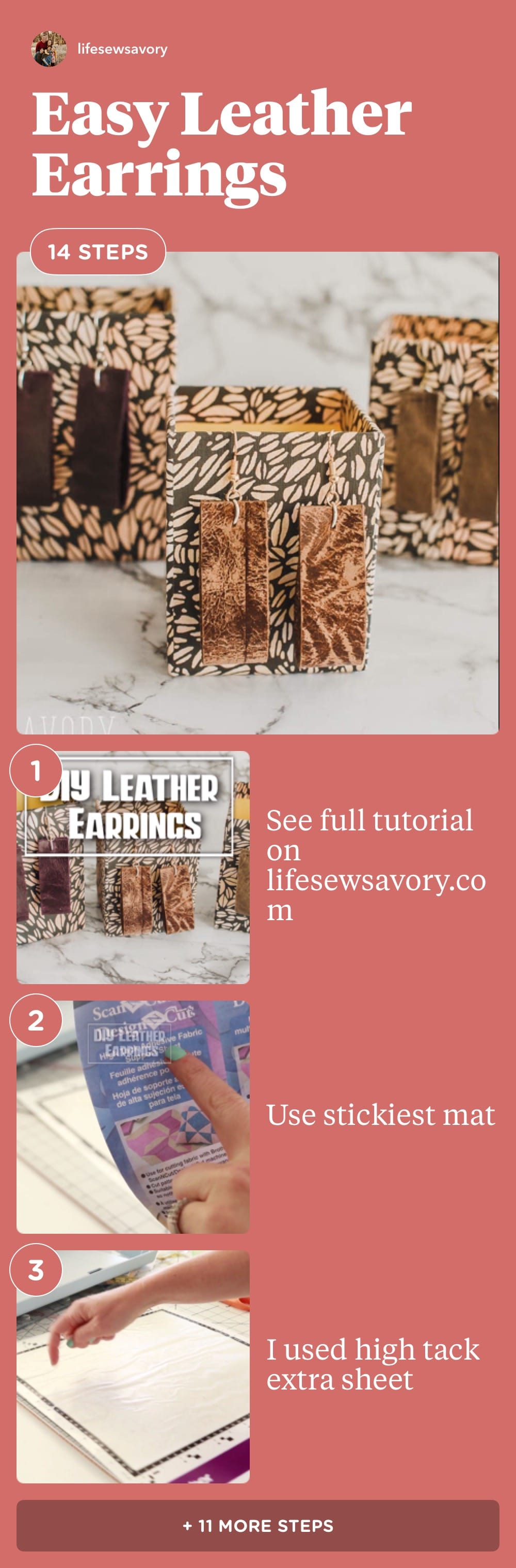 A fun tutorials with easy leather earrings to make. Simple shapes and fun colors make these leather earring designs. DIY leather earrings are fun to make and look great. via @lifesewsavory