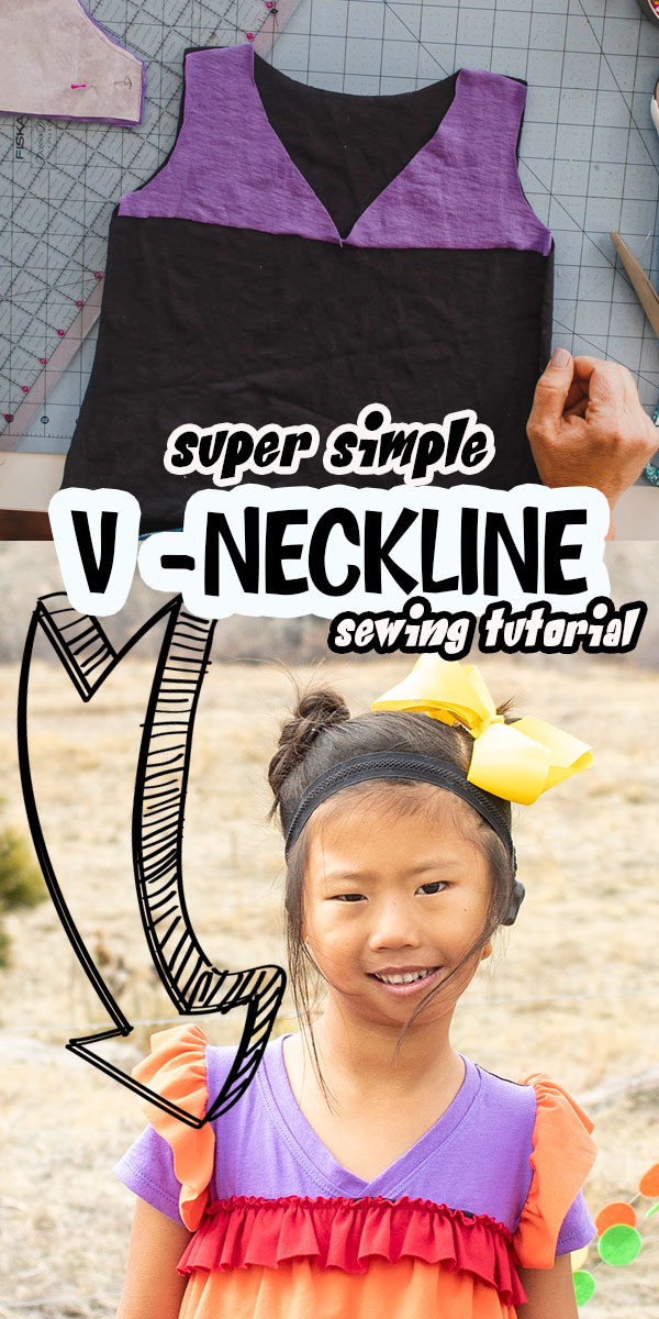 a fun sewing hack showing how to sew a V neck shirt using any t-shirt pattern. Turn a crew neckline into a V neckline with this easy sewing tutorial. via @lifesewsavory