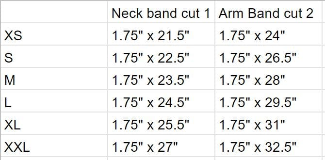 Band cutting guide for tank top