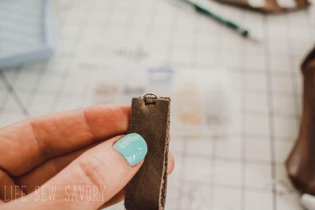 sew leather earrings