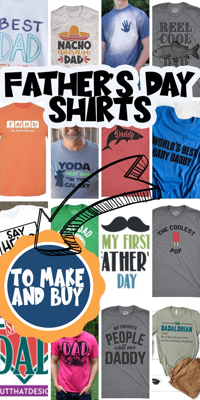 The best Father's Day Shirts to make with free svg files. You can also make DIY Father's Day shirts with these fun crafty ideas. And if crafting isn't for you, buy one of these fun Father's Day shirts. via @lifesewsavory