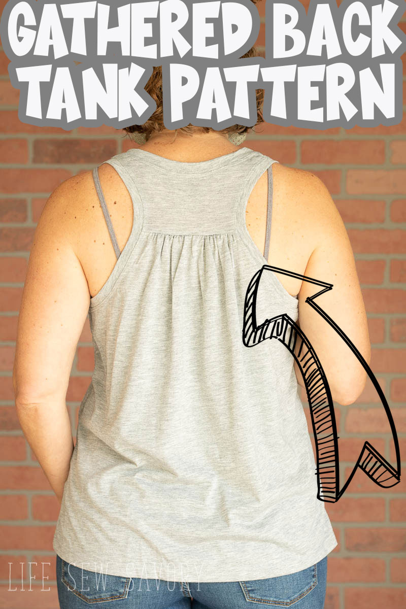 sew a tank top from this free sewing pattern pdf. A free gathered back tank with cute shape and easy to sew tutorial. A simple summer sewing project in sizes xs- xxl. via @lifesewsavory