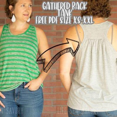 Free sewing pattern PDF – Womens Gathered Back Tank