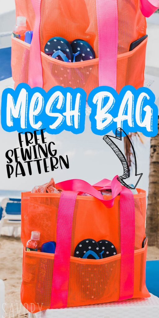 MESH BEACH BAG free sewing pattern and tutorial