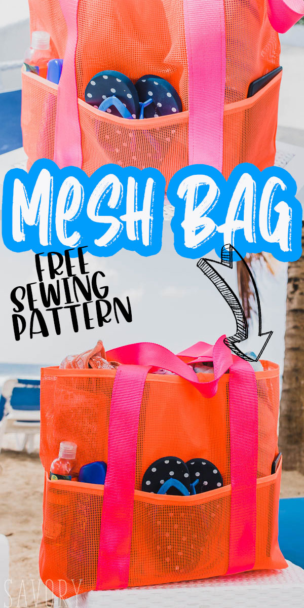 sew up this free mesh beach bag for fun all summer long. Large mesh tote bag are perfect for all your swim things at the beach or pool all summer long. Printable PDF tote pattern. via @lifesewsavory