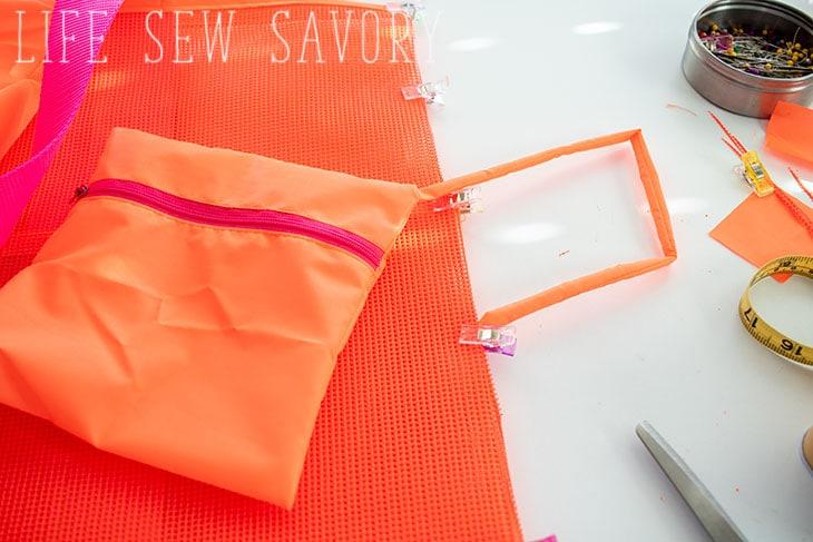 how to sew a mesh beach bag