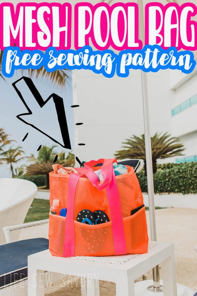 large mesh tote beach or pool bag free sewing pattern from Life Sew Savory
