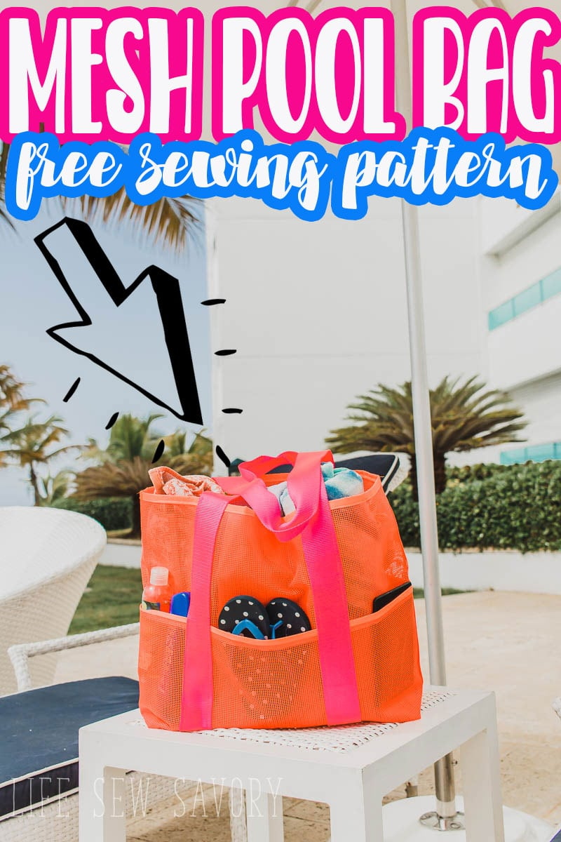 sew up this free mesh beach bag for fun all summer long. Large mesh tote bag are perfect for all your swim things at the beach or pool all summer long. Printable PDF tote pattern.