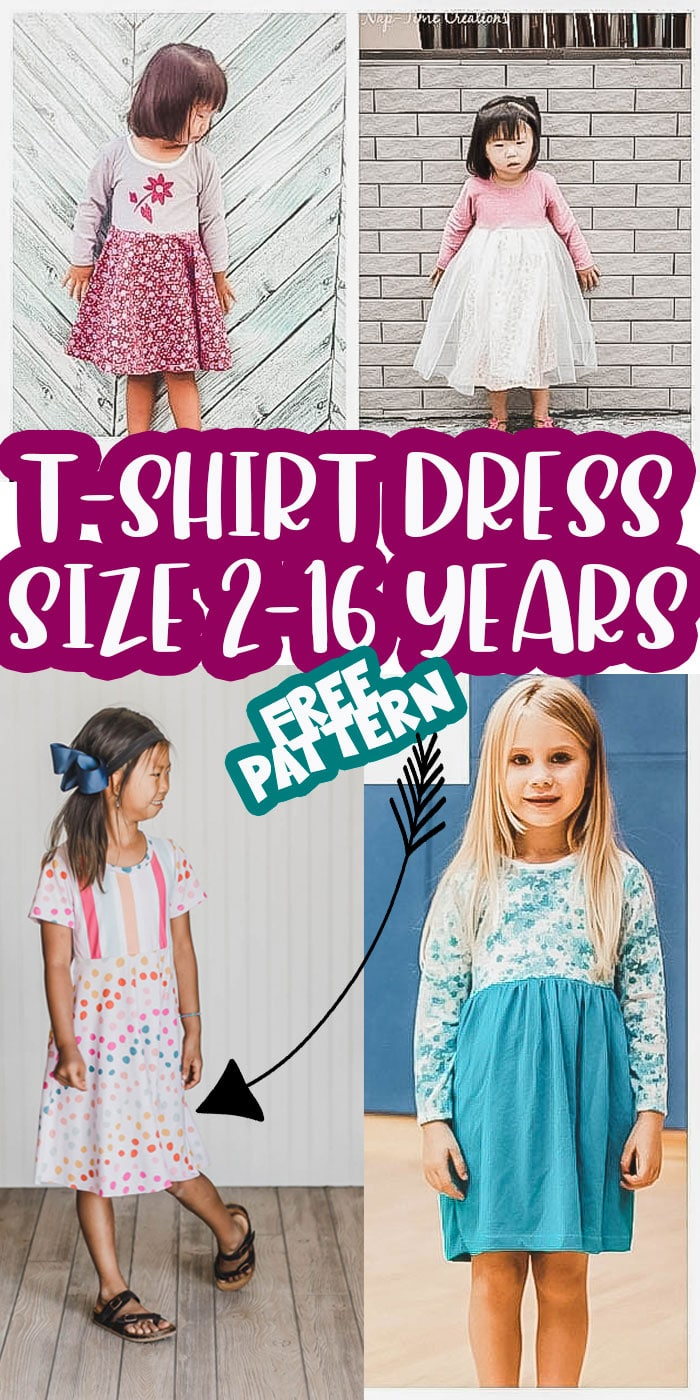This girls t shirt dress pattern is super cute and works in so many various combinations. The top is knit fabric and the skirt options can be woven or knit fabric. Free Printable shirt dress sewing pattern you have to try.