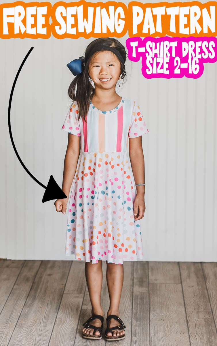 This girls t shirt dress pattern is super cute and works in so many various combinations. The top is knit fabric and the skirt options can be woven or knit fabric. Free Printable shirt dress sewing pattern you have to try.  via @lifesewsavory