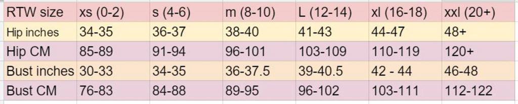 womens size chart xs - xxl