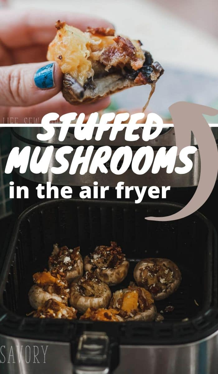 Try these air fryer stuffed mushrooms two different ways. You will love these easy bacon and cheese stuffed mushrooms.