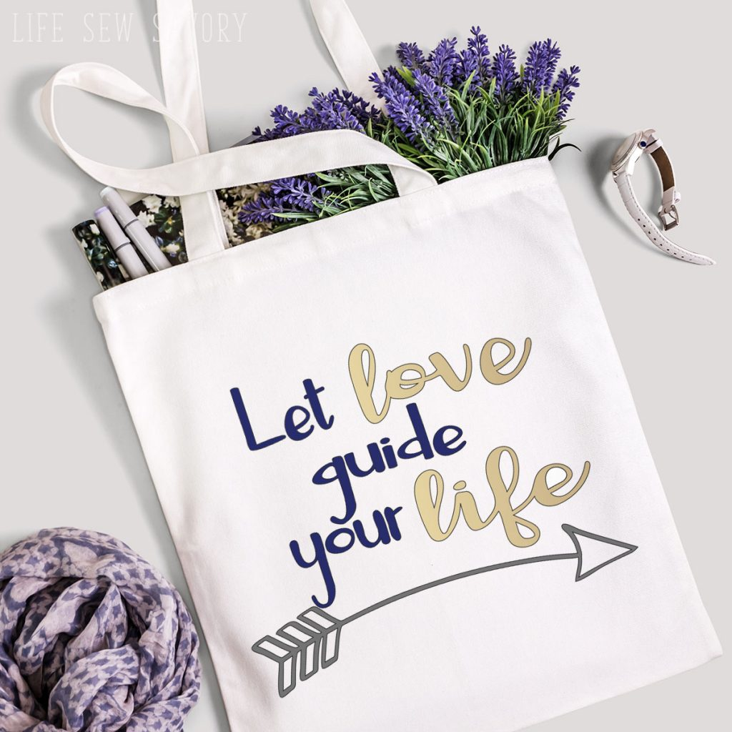 tote with free love svg