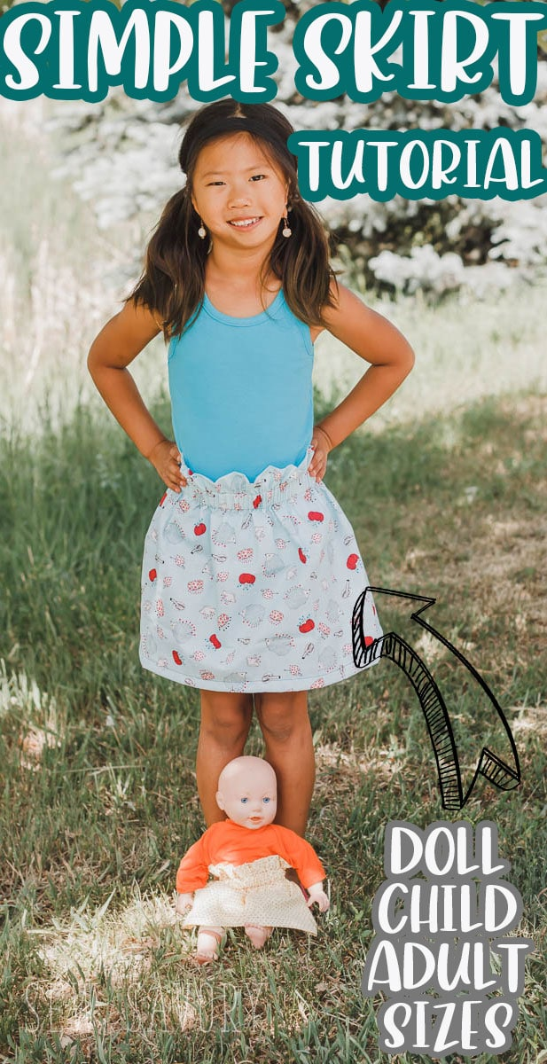 A fun simple DIY skirt tutorial to make your own paper bag style skirt. Easy sew skirt in any size. Sewing tutorial to make a doll, child or adult skirt.