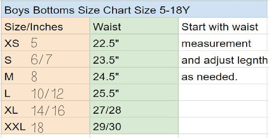 boys shorts size chart
