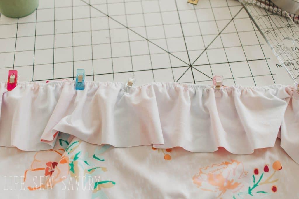 pin ruffle to skirt