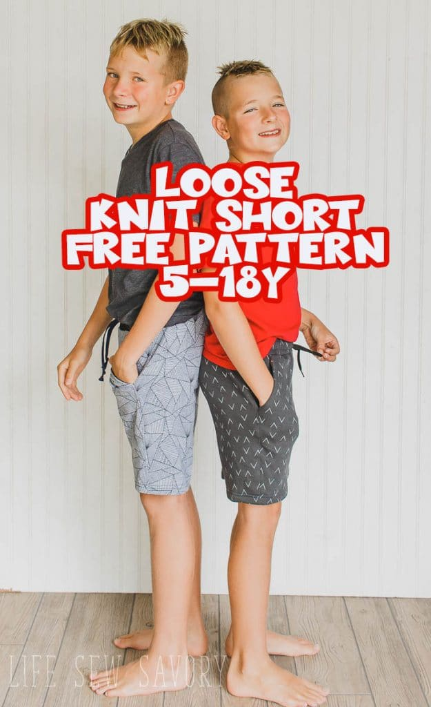 free shorts pattern loose fit shorts pattern size 5-18Y