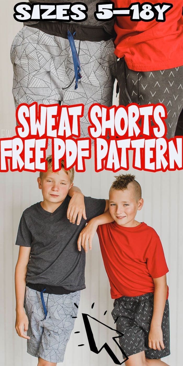 This free shorts sewing pattern is a perfect summer sewing project. Comfortable loose fit knit shorts for boys {or girls} make fun play clothes. This free kids shorts pattern is a must sew free pdf pattern. sizes 5-18Y via @lifesewsavory