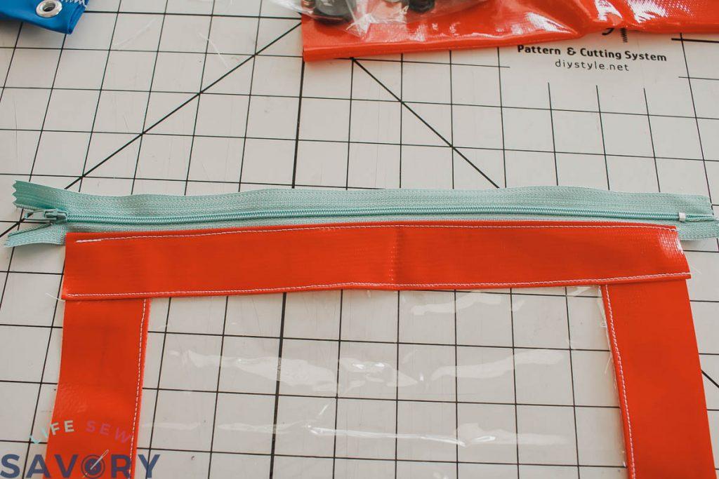 sew and top-stitch zipper