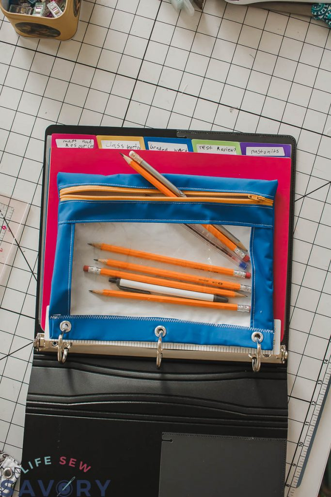 Pencil Case for three ring binder