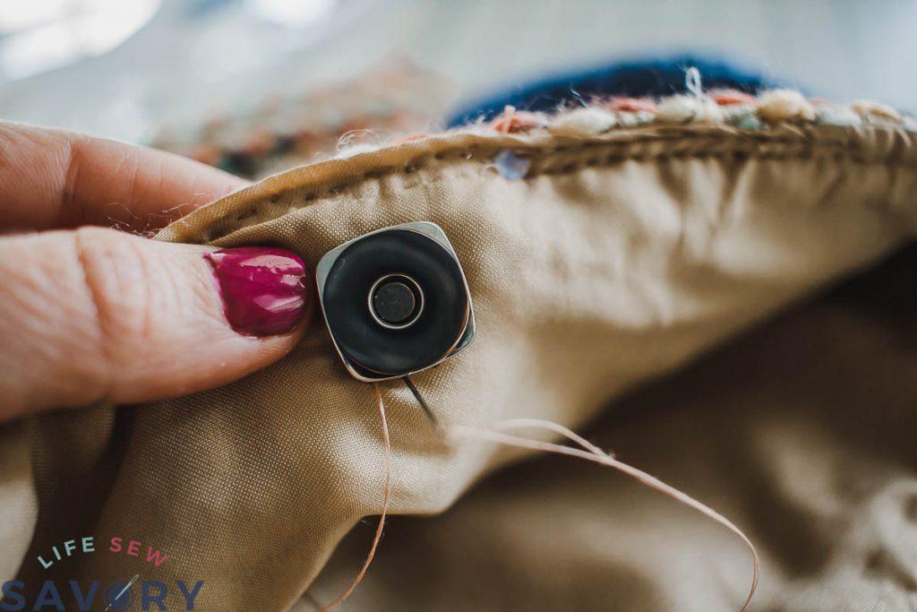 sew around hte magnet