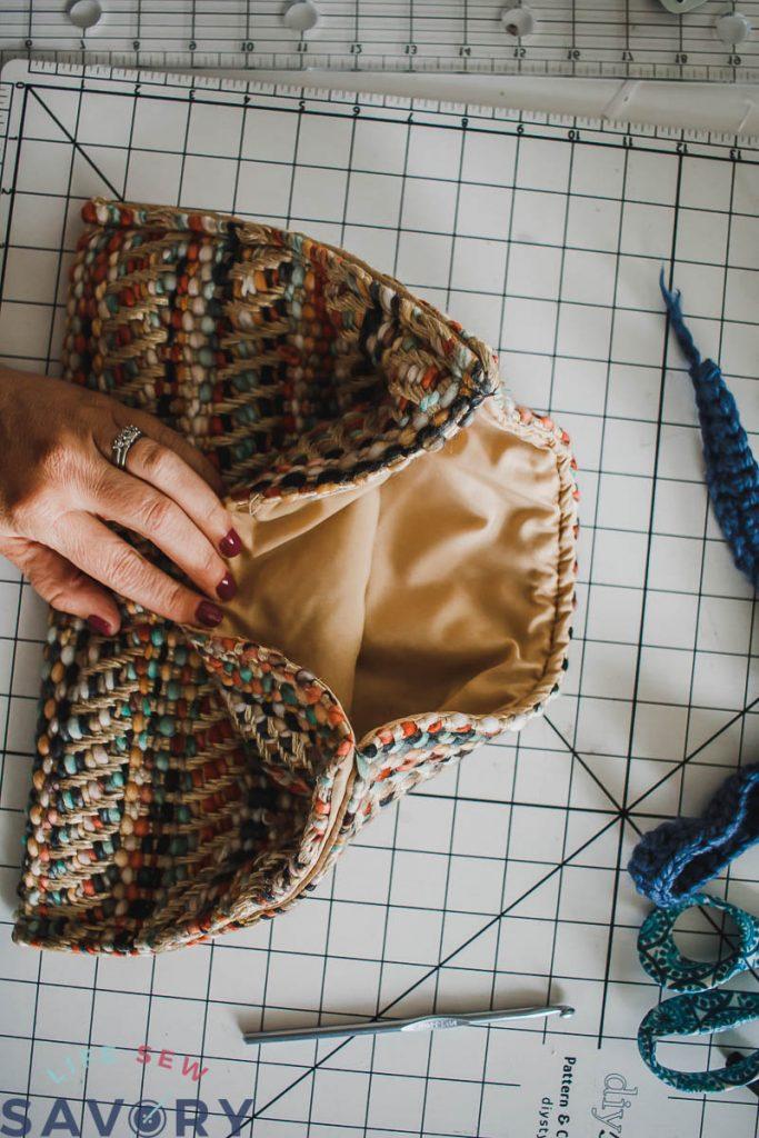 bag sewed wrong sides together