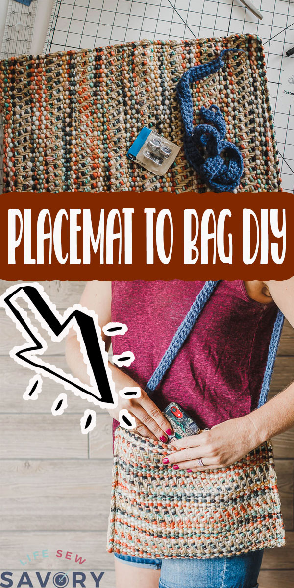 Learn how to make a purse/bag out of a placemat in just a few easy steps. Simple DIY sewing project to create a useful placemat purse. placemat bags are easy to make and sew! via @lifesewsavory
