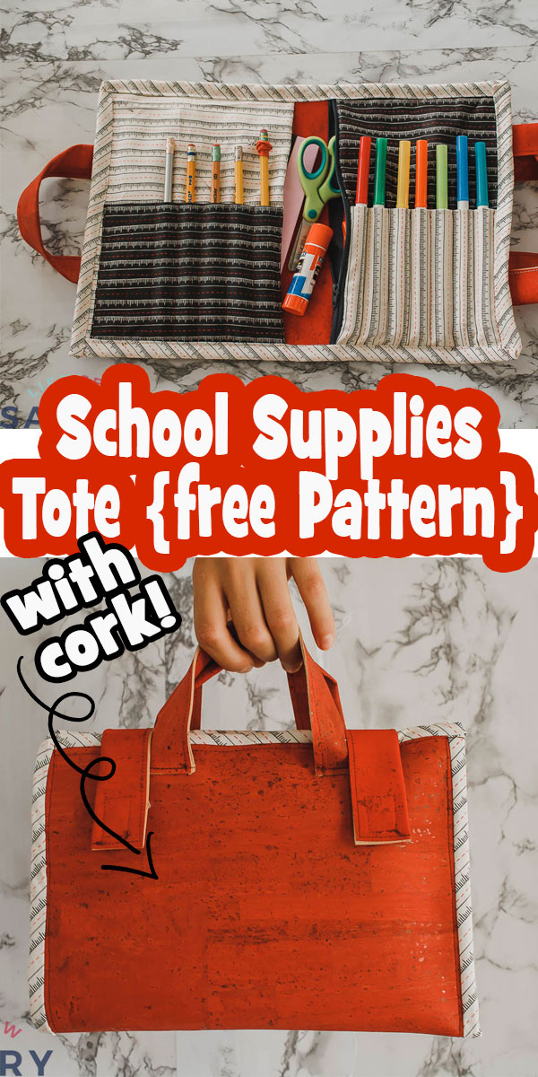 Learn how to sew an adorable and very useful DIY school supplies tote. No matter what school looks like for you this storage caddy is great for organization. Free printable pattern.