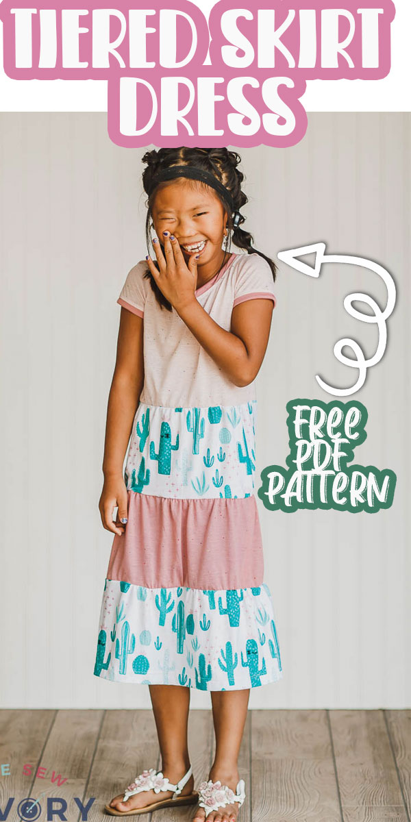 Use this tiered skirt pattern to make a t-shirt dress perfect for play or school. A free pdf pattern will get you started with the top and then my tiered skirt tutorial will complete the look.
