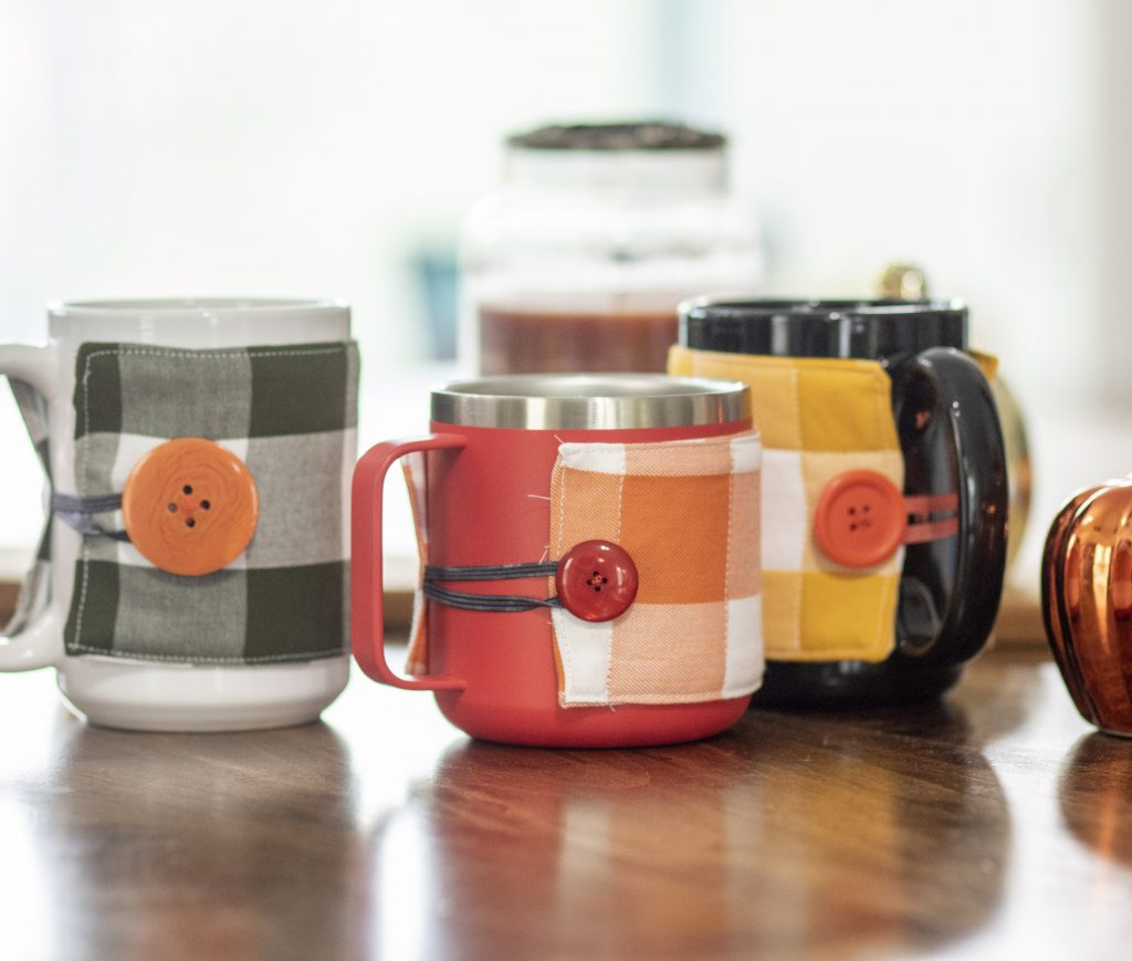 cover a mug with a mug cozy to make seasonal decor