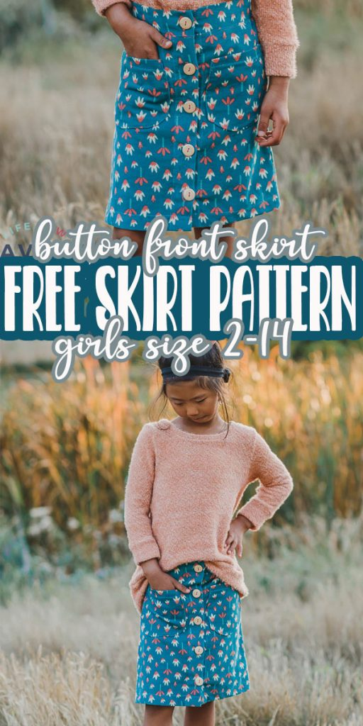 Free button front skirt pattern and tutorial for girls