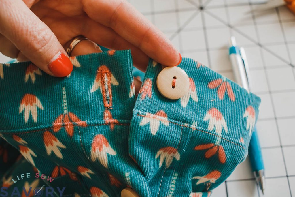 sew button to front