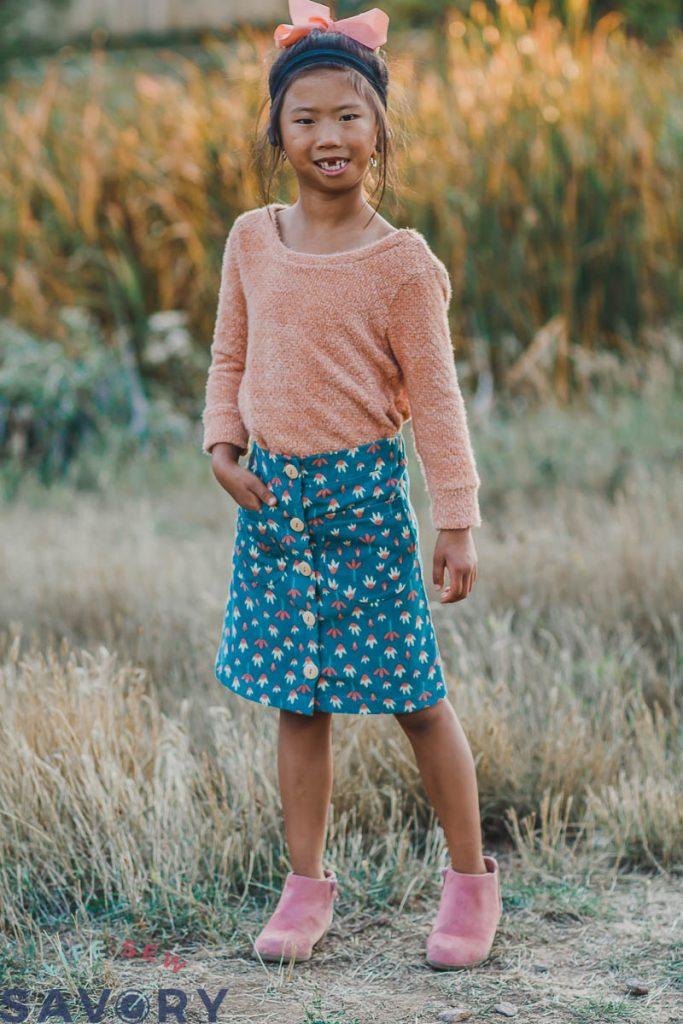 cute girls skirt with buttons