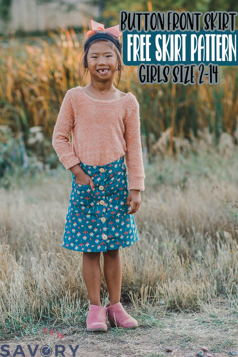 Sew a beautiful girls button front skirt with this free sewing pattern and tutorial. The perfect fall skirt with buttons all down the front and a fitted look. Sizes 2-14 for girls.