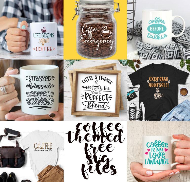 free coffee themed svg cut files