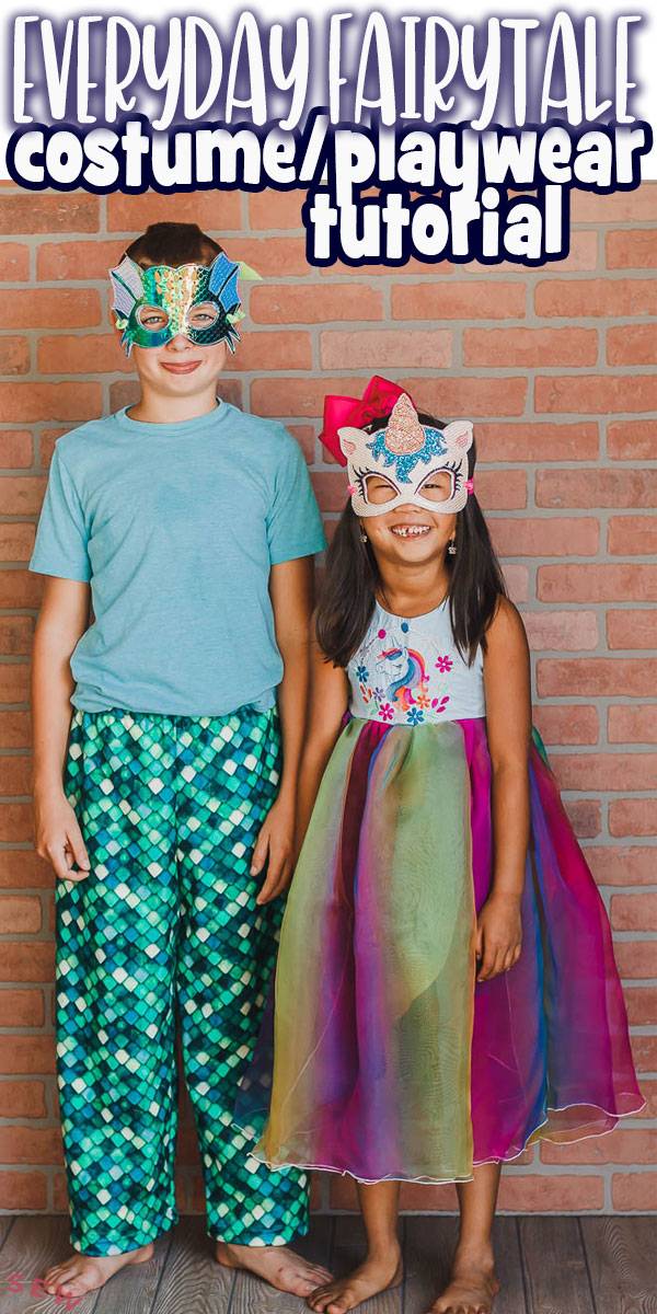 Create fun playwear costumes for Halloween. These everyday fairy tale costumes can also double as pajamas or playwear for your kids. Free sewing patterns and tutorials to create these looks.