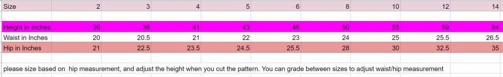 girls skirt size chart