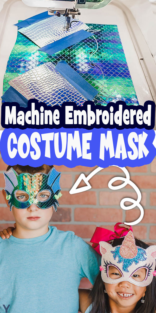 Sew an Embroidered DIY halloween mask to complete your costume. DIY costume face masks are great for halloween or everyday imaginative play. Sewing tutorial for Embroidery Machines.