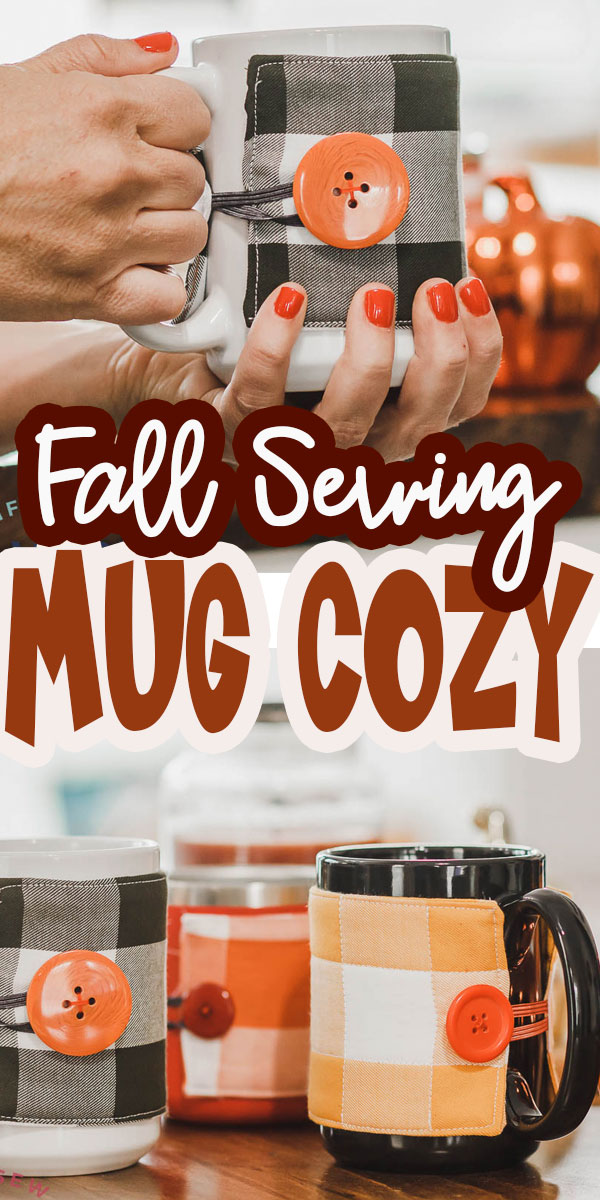 sew up an easy fall mug cozy for a cute and useful fall sewing project. This is an easy project and a perfect beginner tutorial as well. Mug Cozies keep your hands protected and add a cute fall detail to your kitchen as well.