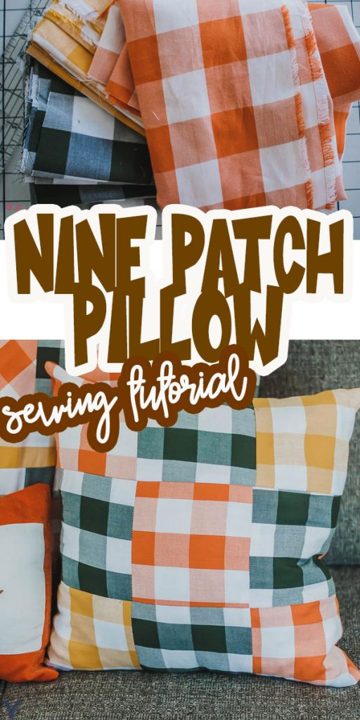 quilted nine patch fall pillow sewing tutorial