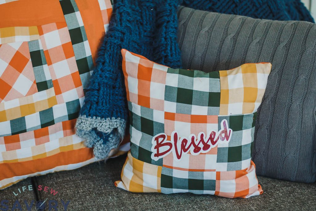 blessed vinyl letters on pillow