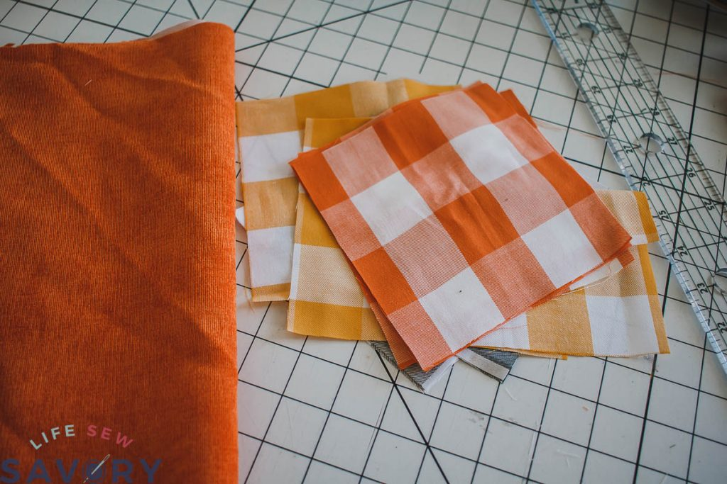 cut 9 squares of fabric