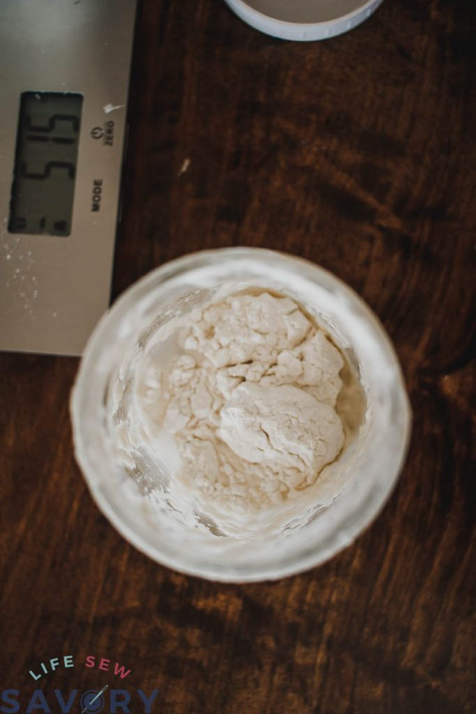 sourdough starter with water and flour